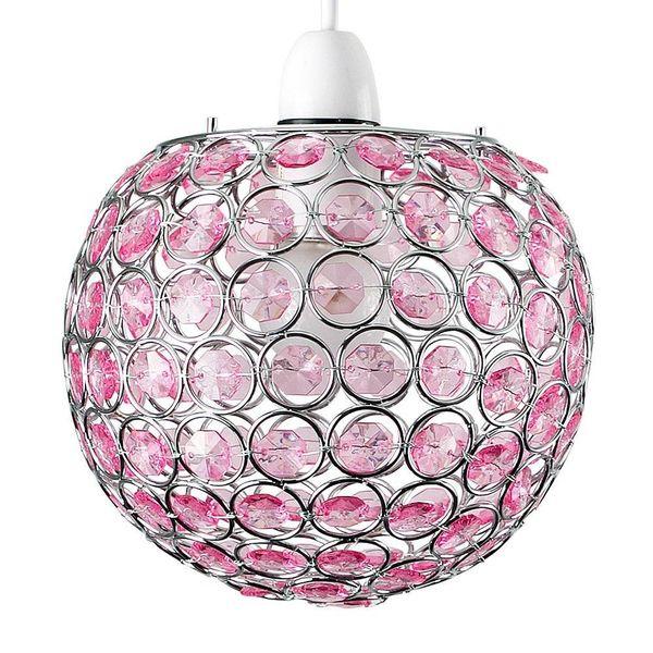 Hanglamp kinderkamer rond met roze kralen