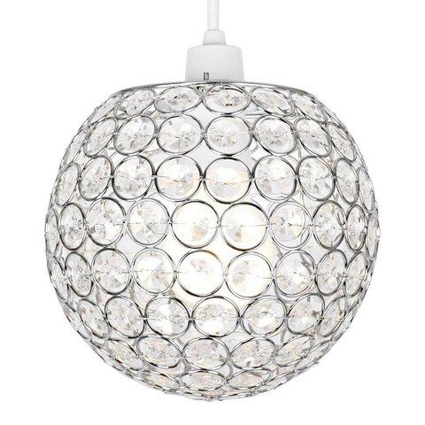 Kinderlamp rond met transparante kralen klein