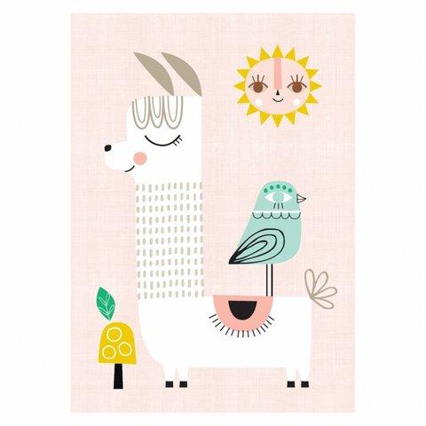 Petit Monkey kinderposter A3 Sunshine Lama roze