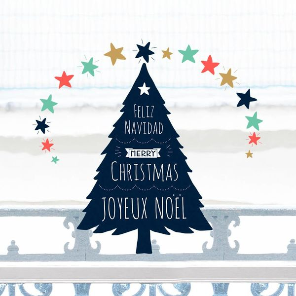 Nouvelles Images Nouvelles Images raamsticker kerstboom Merry Christmas