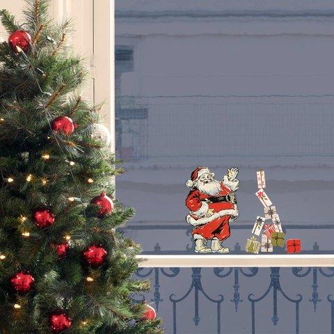 Nouvelles Images raamstickers kerstman vintage