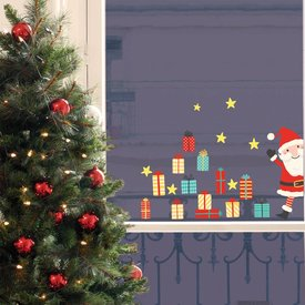 Nouvelles Images Nouvelles Images raamstickers kerstman en cadeautjes