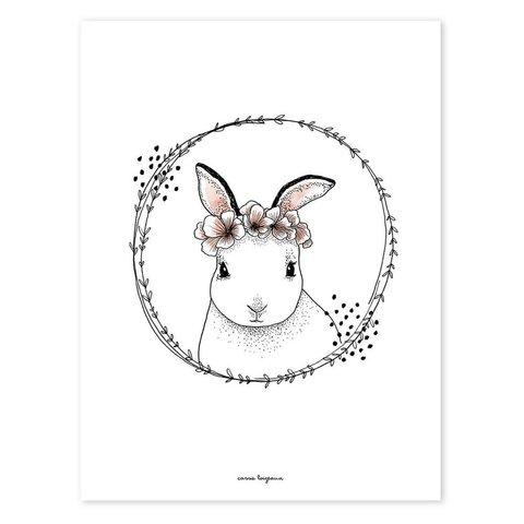 Lilipinso poster konijn met bloemenkrans