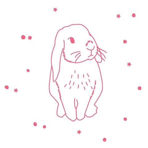 Mimilou muursticker konijn roze