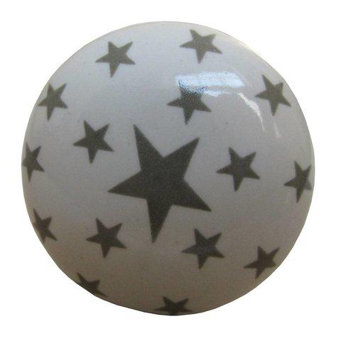 La Finesse kastknopje wit met grijze sterren