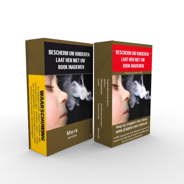 Voorbeeld van een neutraal pakje sigaretten