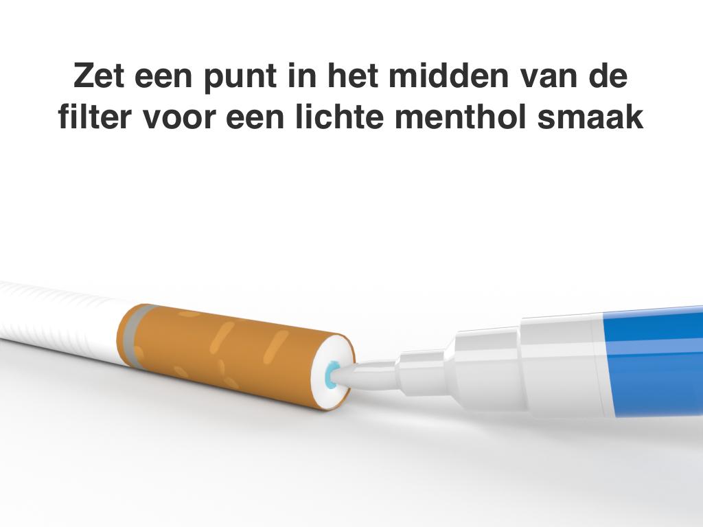 Frutastick gebruiken voor een menthol sigaret.