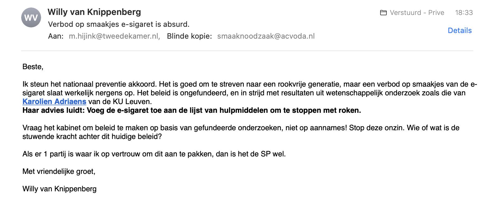 Brief aan Maarten Hijink - verbod smaakjes esigaret