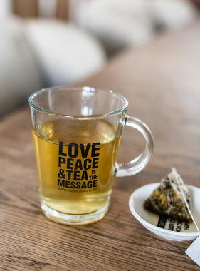 'Love, Peace & Tea is the message' tea glass