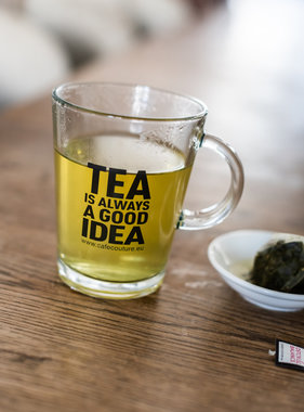'Tea is always a good idea' tea glass