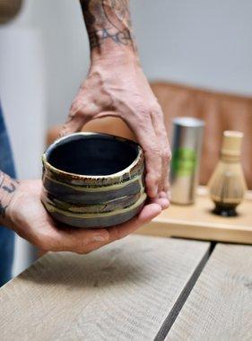 Porcelain Matcha bowl - arty paint