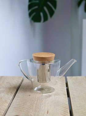 Glass tea pot with filter and wooden lid (1200 ml)