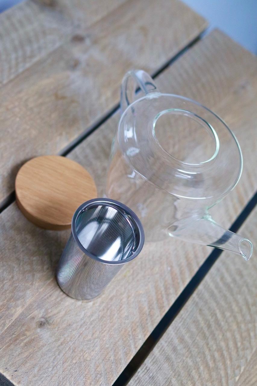 Glazen theepot met filter en houten deksel (1200 ml)