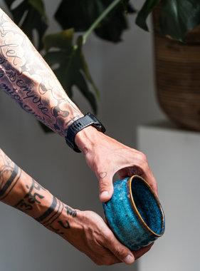 Porcelain Matcha bowl - happy blauw