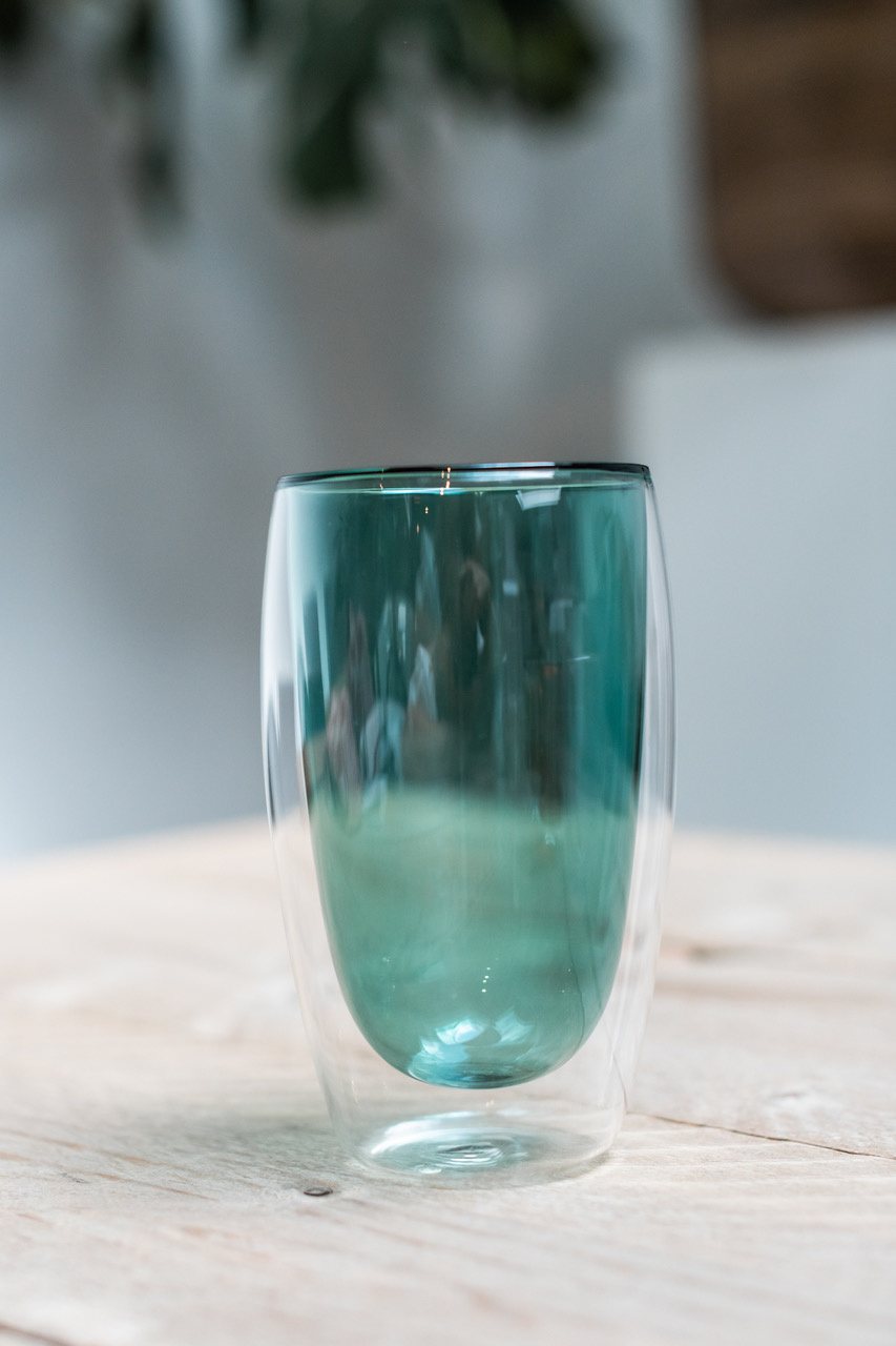 Double-walled design glass green - 450 ml