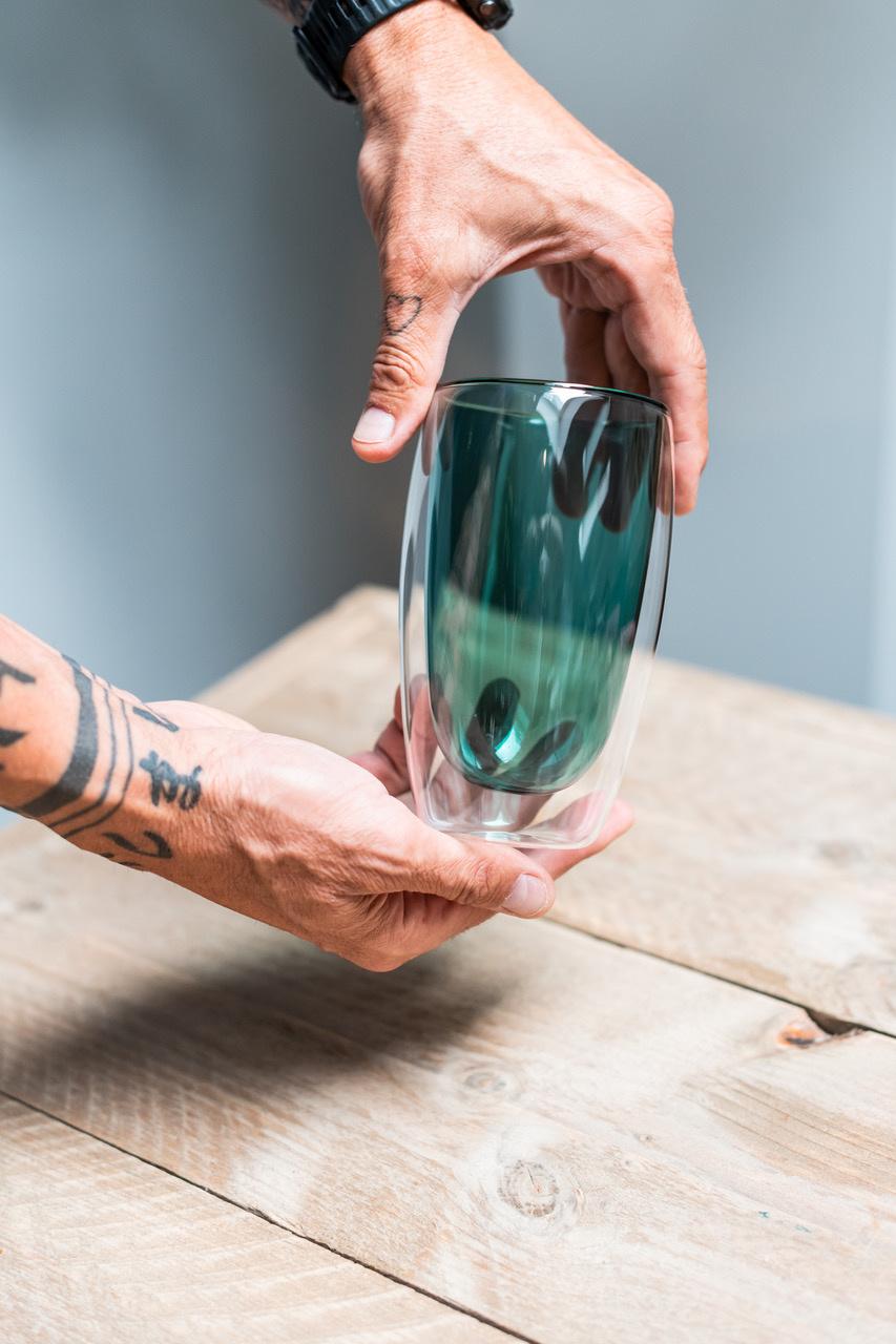 Design dubbelwandig glas groen - 450 ml