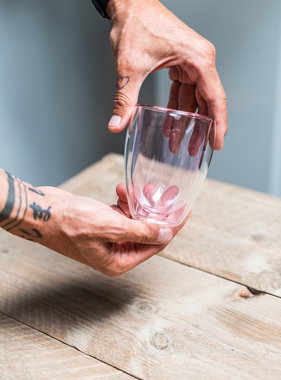 Double-walled design glass pink