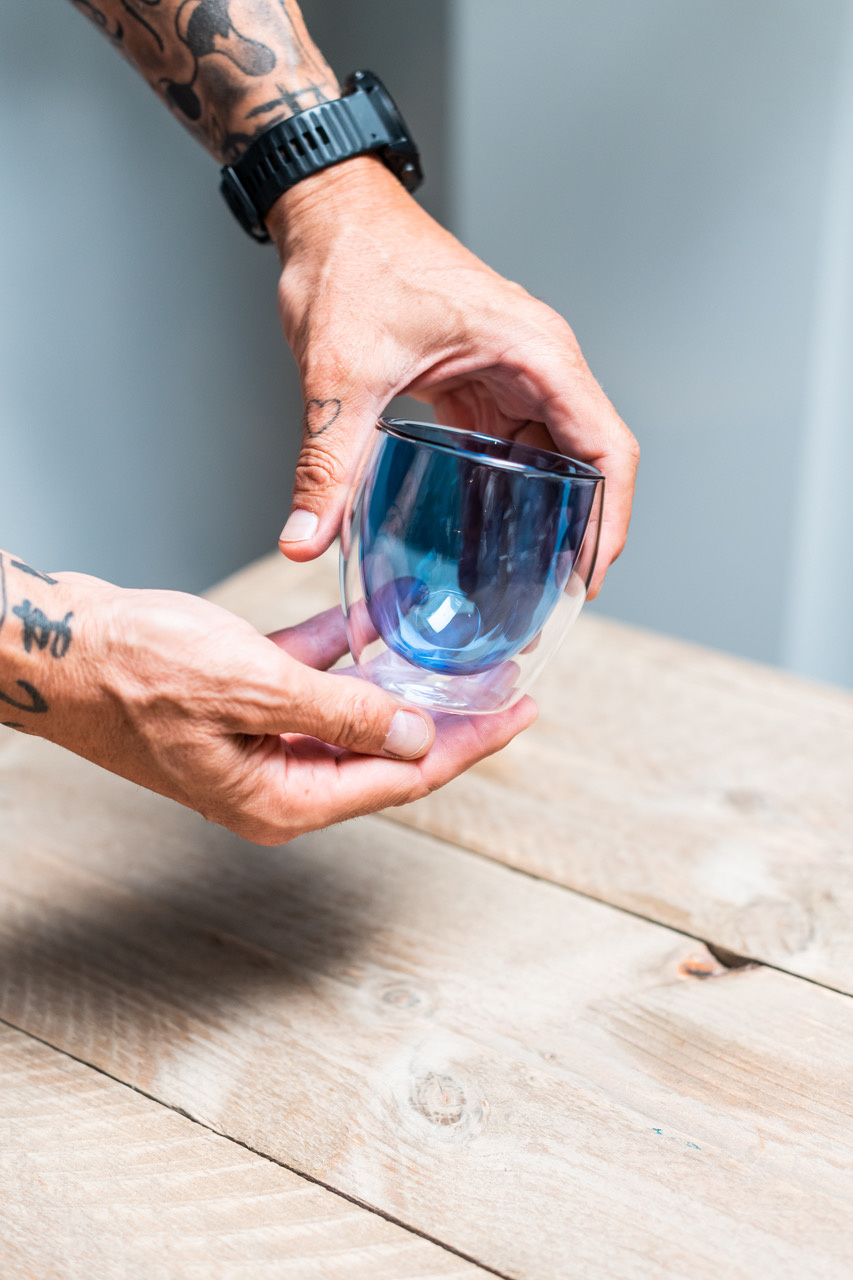 Double-walled design glass blue