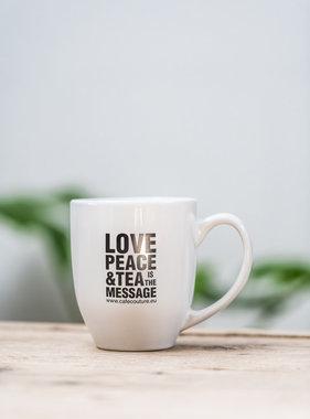 'Love, Peace & Tea is the message' mug