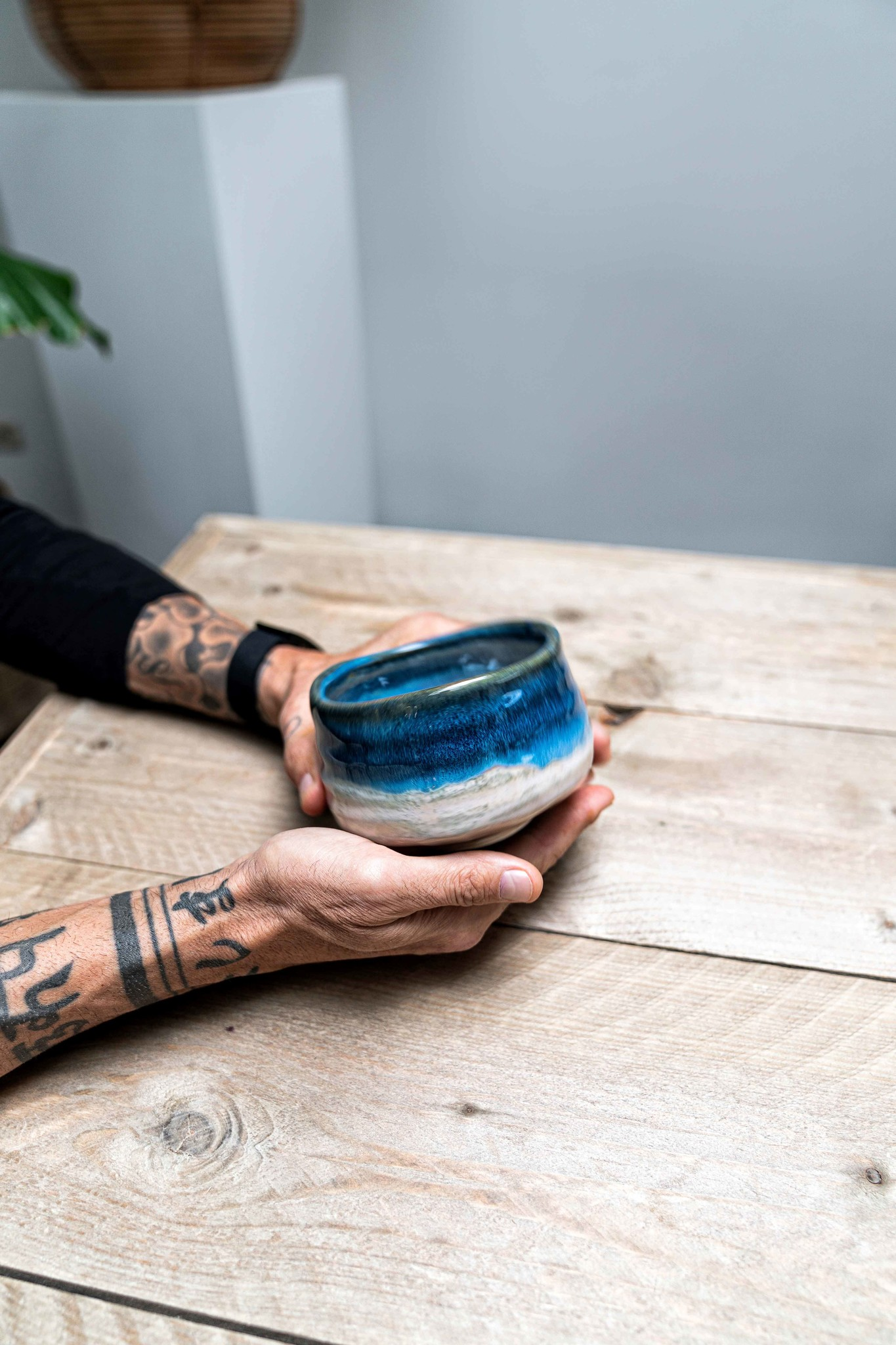 Porcelain Matcha bowl - deep sea white