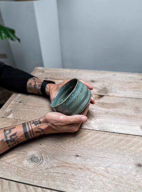 Porcelain Matcha bowl - sea green