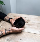 Porcelain Matcha bowl  - ribble shiny black