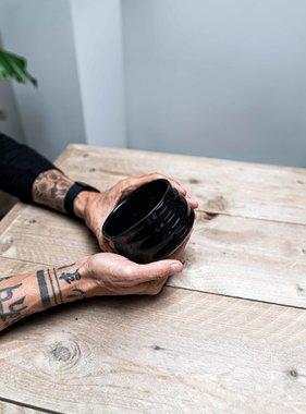 Porcelain Matcha bowl - ribble shiny black