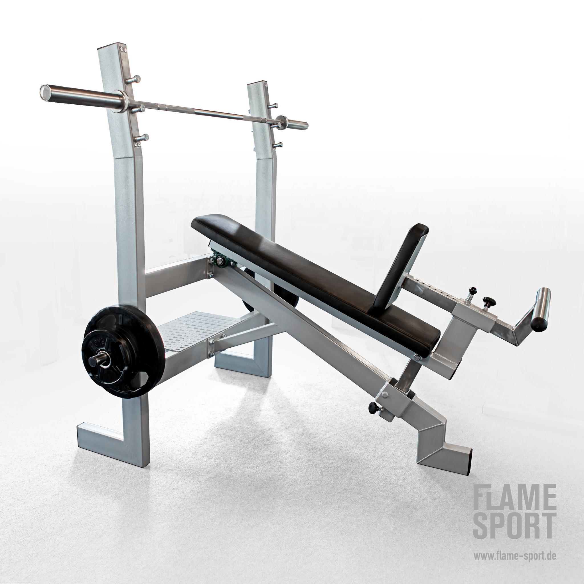 Olympiabank geneigt (2AX), mit verstellbar Sitzauflage und variable Winkeleinstellungen inkl. Fußstütze