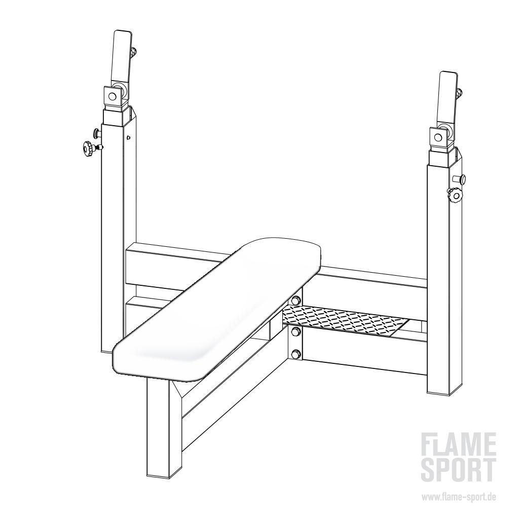Olympiabank (1AX), mit höhenverstellbarer Langhantelablage
