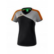 Erima Sportkleding Erima Premium one 2.0 T-shirt Damen Grau/Schwarz/Orange