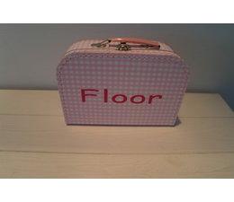 Koffertje roze met naaam