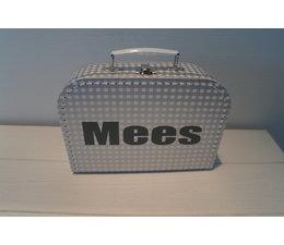 Koffertje grijs met naam