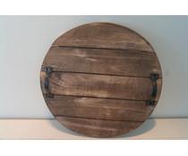 Rond houten decoratiebord groot