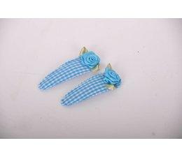 Haarspeldjes groot lichtblauw/bloem