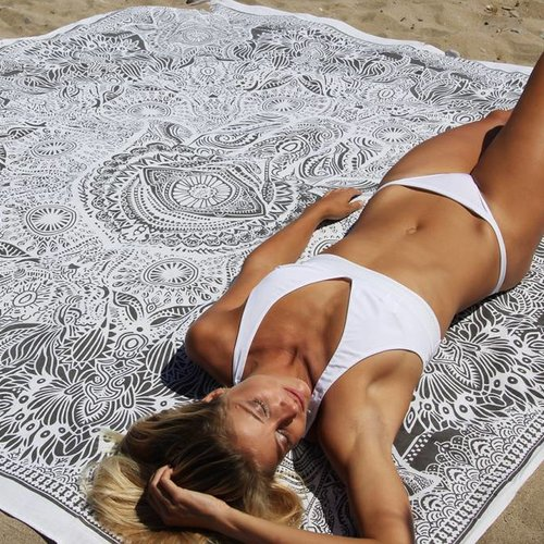 Vierkante roundie groot xl katoenen strandlaken