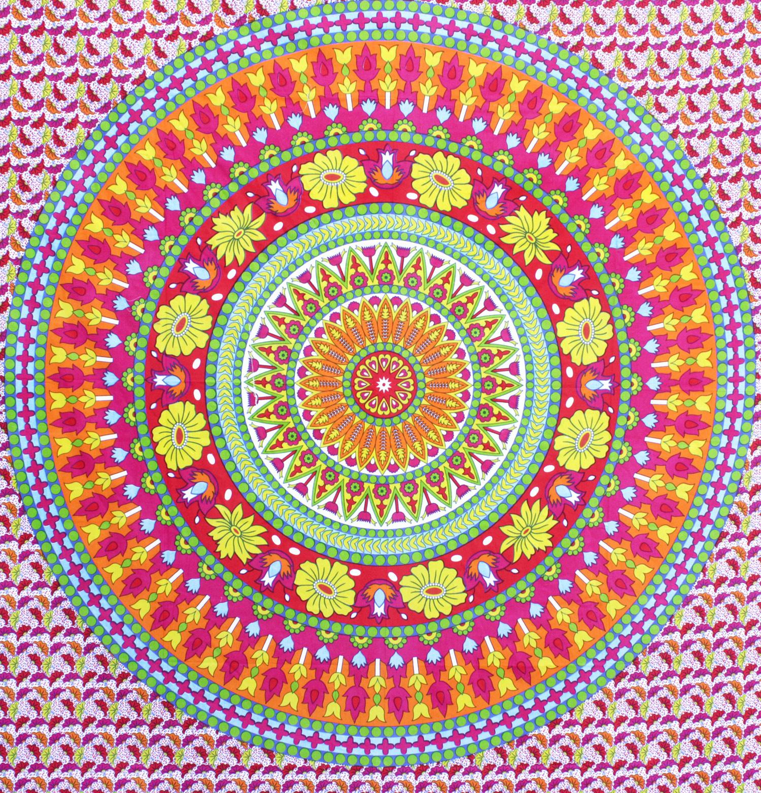 Myroundie Myroundie - roundie - vierkant strandlaken XL – yoga kleed- speelkleed - picknickkleed -100% katoen – Q38