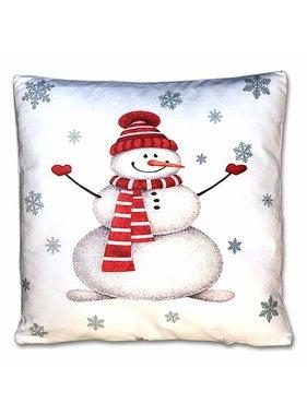 Kerst sierkussen Jolly 45x45cm wit snowman