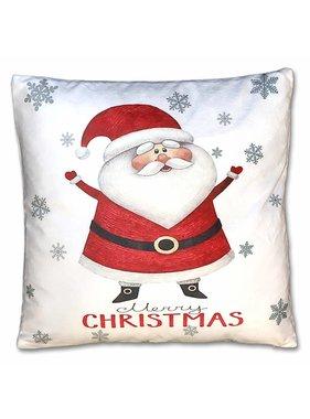 Kerst sierkussen Jolly 45x45cm wit santa