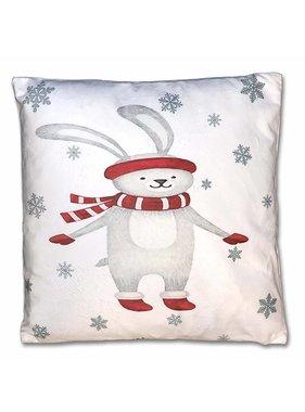 Kerst sierkussen Jolly 45x45cm  wit rabbit
