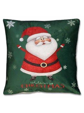 Kerst sierkussen Jolly 45x45cm groen santa