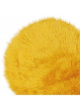 Unique Living sierkussens & plaids Vloermat fake fur 70cm Ø sunflower yellow