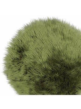 Unique Living sierkussens & plaids Vloermat fake fur 70cm Ø oil green