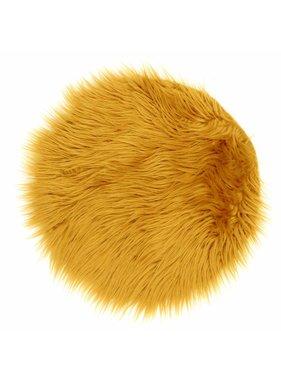 Unique Living sierkussens & plaids Vloermat fake fur 40cm Ø sunflower yellow