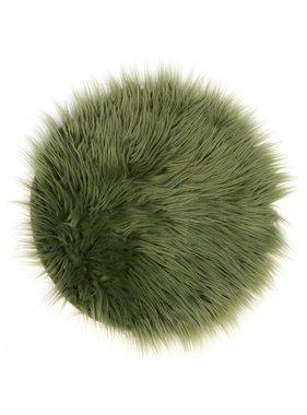 Unique Living sierkussens & plaids Vloermat fake fur 40cm Ø oil green