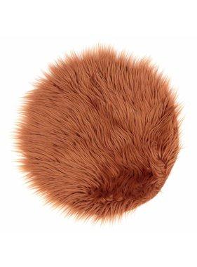 Unique Living sierkussens & plaids Vloermat fake fur 40cm Ø hazel brown