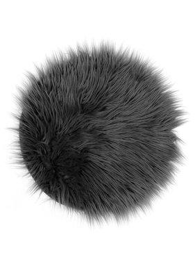 Unique Living sierkussens & plaids Vloermat fake fur 40cm Ø dark grey