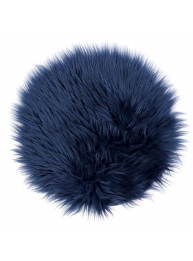 Unique Living sierkussens & plaids Vloermat fake fur 40cm Ø dark blue