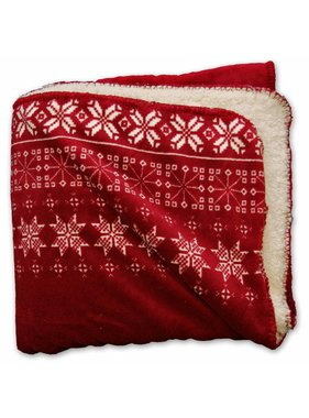 Unique Living sierkussens & plaids Winterplaid  Snowflake  130x160cm rood
