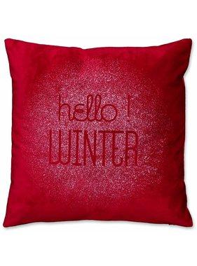 Unique Living sierkussens & plaids Kerst sierkussen Hello Winter 45x45cm red
