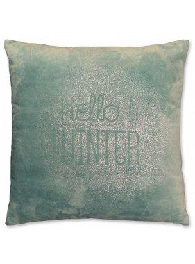 Unique Living sierkussens & plaids Kerst sierkussen Hello Winter 45x45cm mineral blue